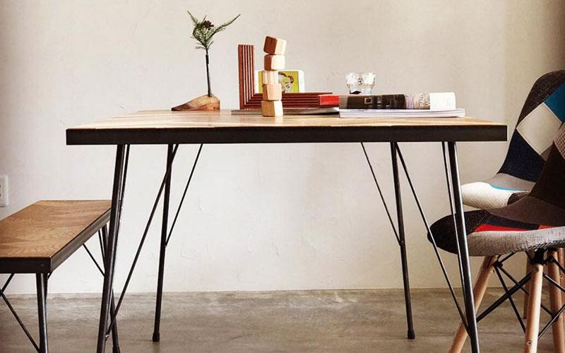 『ヘリンボーンアイアンテーブル&ベンチ』