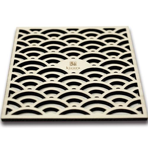 【縁起柄・木製コースター】青海波「家庭円満・平穏な暮らしへの願い」